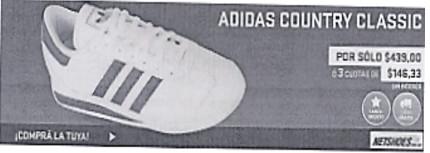 Anúncio publicitário de tênis Adidas em espanhol