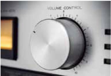 Botão para controlar volume de som em equipamento eletrônico