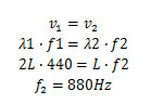Cálculo de frequência do novo harmônico formado