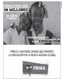Campanha publicitária em prol da educação de crianças, em espanhol.