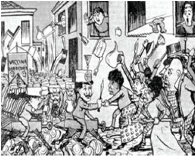 Charge de Leônidas Freitas sobre a Revolta da Vacina.