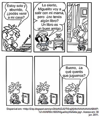 Tirinha Mafalda em enunciado de questão da UEMG