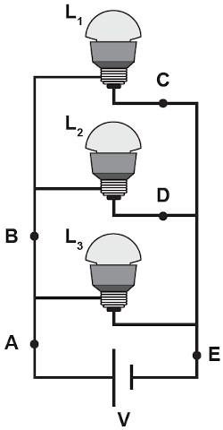 Esquema de três lâmpadas ligadas em circuito