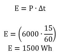 Cálculo do valor gasto de energia por banho em tempo de 15 minutos