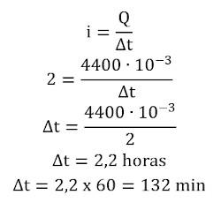 Cálculo do valor do tempo em que bateria pode ser usada