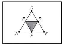 Representação de figura em formato de triângulo equilátero de lado com 1 m.