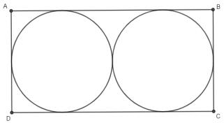 Representação de terreno retangular com dois irrigadores em formato circular.