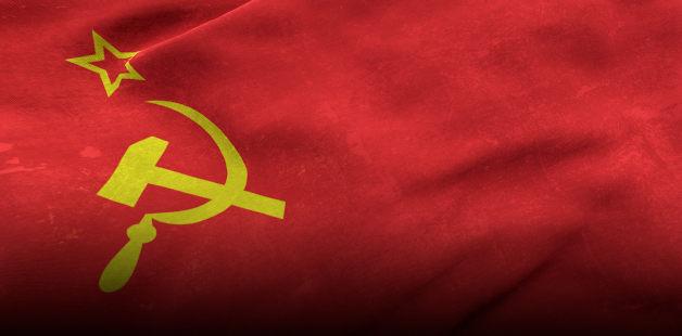 Símbolo da URSS em bandeira vermelha
