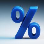 Símbolo de porcentagem azul