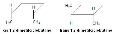 Fórmula dos isômeros 1,2-dimetilciclobutano