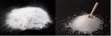 Sais inorgânicos usados no experimento: bicarbonato de sódio e sulfato de magnésio