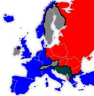 Ilustração da divisão do espaço europeu pela Cortina de Ferro