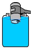 Invertendo a lata em recipiente com água para amassá-la