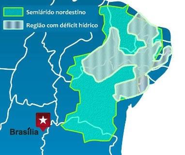Mapa de localização do semiárido nordestino e da região com déficit hídrico