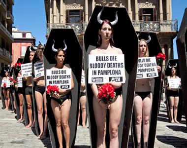Manifestação contra a prática da tourada e em defesa dos animais