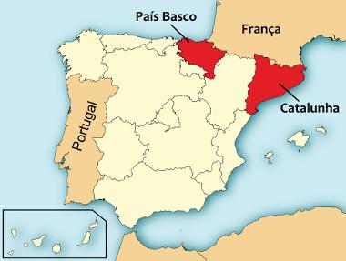 Mapa de localização da Catalunha e do País Basco na Espanha