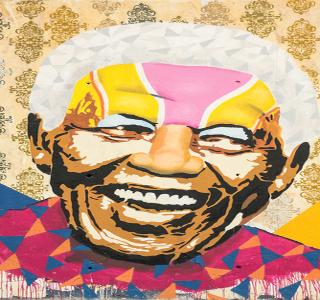 Representação de Mandela em mural na cidade de Barcelona, Espanha