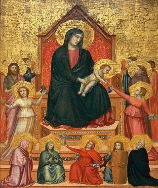 Madonna entronizada com santos e virtudes, de Giotto di Bondone (1267-1337)