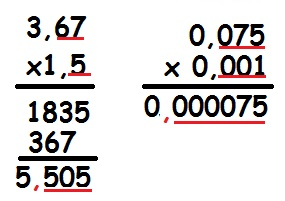 Exemplos de Multiplicação com números decimais
