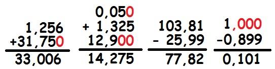 Exemplos de adição e subtração com números decimais