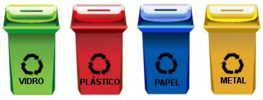 Lixeiras de coleta seletiva destinadas a materiais recicláveis