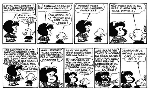 Apesar de seus cinquenta anos, Mafalda continua atual, refletindo com coerência problemas antigos de nossa sociedade