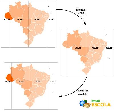 Mapa com as alterações dos fusos horários brasileiros