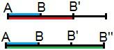 Relação de homotetia entre os segmentos AB, AB' e AB''