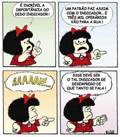 Mafalda, apesar de ser uma criança, já apresenta certo entendimento sobre as principais questões que afligem a sociedade