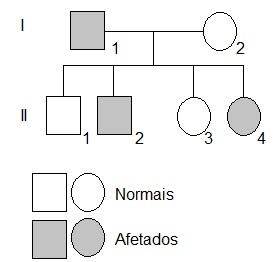 Observe o heredograma ilustrando um caso de daltonismo em uma família