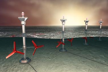 Ilustração de turbinas instaladas no mar para a geração de enrgia maremotriz