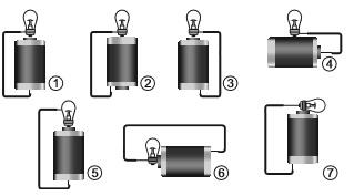 Esquemas utilizados pelo estudante para tentar ligar a lâmpada