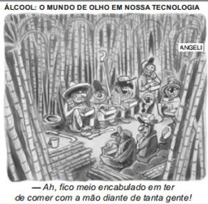 Charge do cartunista Angeli, publicada na Folha de São Paulo em 23 de março de 2007 e texto-base para questão do Enem do mesmo ano