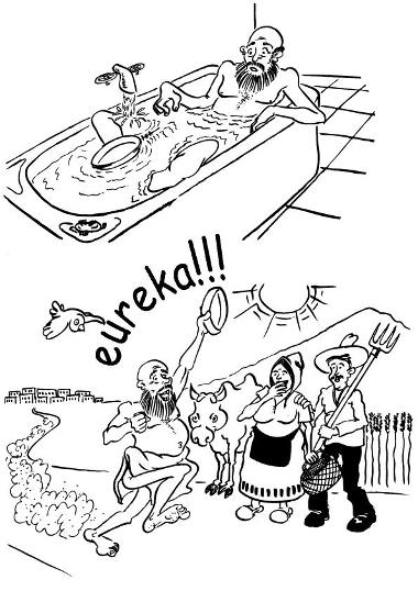 Ilustração de Arquimedes e sua descoberta