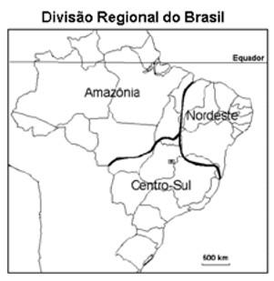 Mapa da divisão regional do Brasil