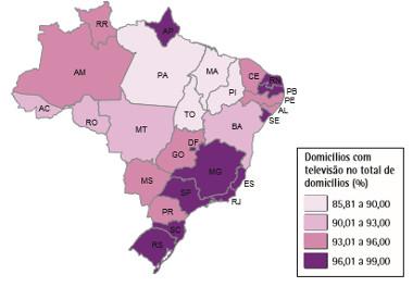 Mapa da porcentagem de domicílios com televisão no território nacional¹