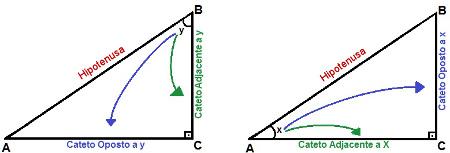 Cada ângulo não reto possui um cateto oposto e um cateto adjacente. Apenas a hipotenusa é a mesma para ambos os ângulos.