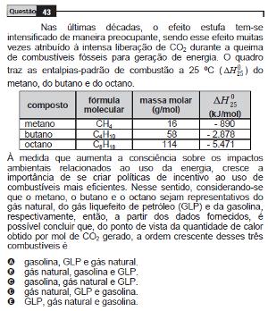 Questão 43 do Enem – 2009 sobre termoquímica