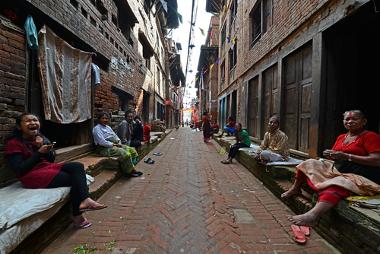 Subúrbio na cidade de Catmandu, capital do Nepal*