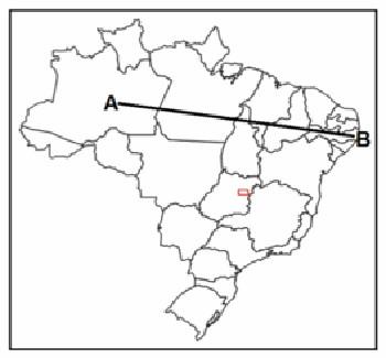 Percurso pelos domínios morfoclimáticos entre os pontos A e B