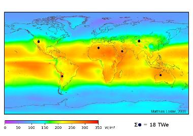 Mapa da radiação solar recebida pela Terra