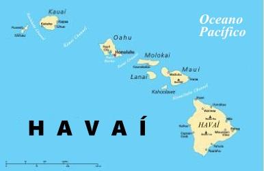 Mapa do arquipélago do Havaí