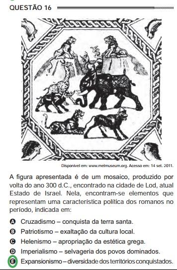 Questão do Enem sobre a expansão do Império Romano