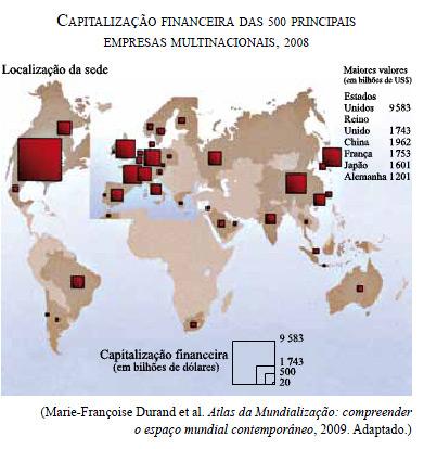 Mapa da distribuição das empresas multinacionais