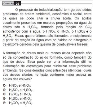 Questão 26 do Enem 2009 do caderno azul