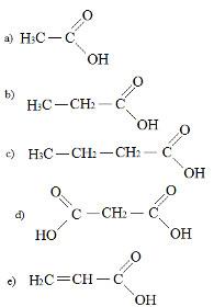 Alternativas em exercício sobre ácidos carboxílicos
