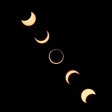 Sequência de um eclipse solar anelar