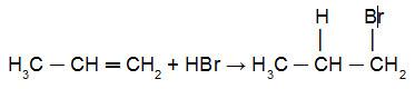 Reação do propeno com HBr em presença de peróxido