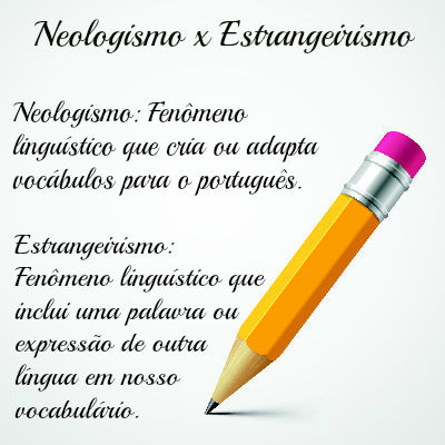 O neologismo é o processo de criação de palavras. O estrangeirismo é o empréstimo de vocábulos de outras línguas