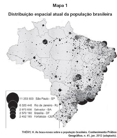 Mapa da distribuição da população brasileira atualmente